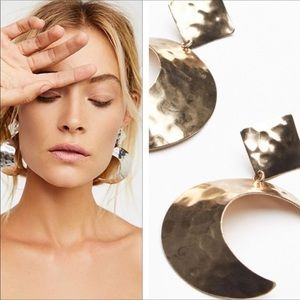 Free People Golden Crescent Moon Earrings